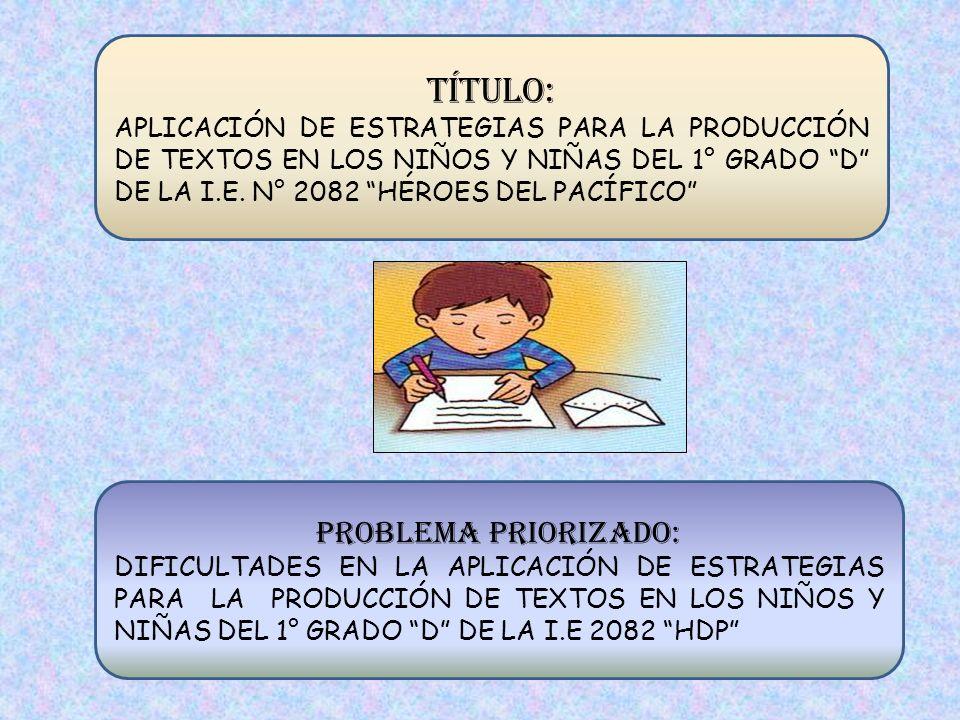 TÍTULO: APLICACIÓN DE ESTRATEGIAS PARA LA PRODUCCIÓN DE TEXTOS EN LOS NIÑOS Y NIÑAS DEL 1° GRADO D DE LA I.E. N° 2082 HÉROES DEL PACÍFICO PROBLEMA PRI