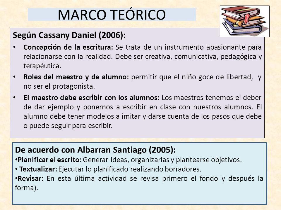 MARCO TEÓRICO Según Cassany Daniel (2006): Concepción de la escritura: Se trata de un instrumento apasionante para relacionarse con la realidad. Debe