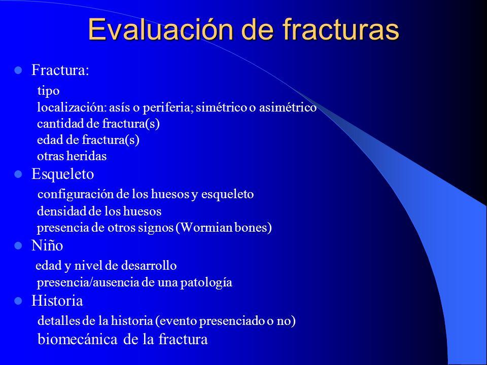 Especificidad baja para for Abuso fractura de la clavicula fractura de un hueso largo fractura del cranio en linia (especialmente parietal)