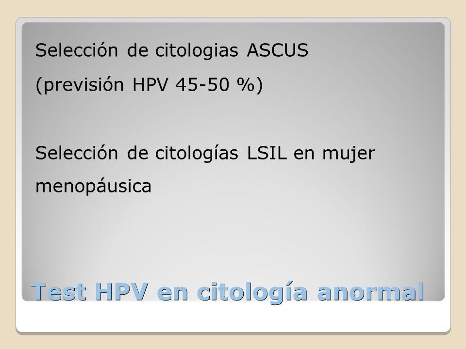 Test HPV en citología anormal Selección de citologias ASCUS (previsión HPV 45-50 %) Selección de citologías LSIL en mujer menopáusica