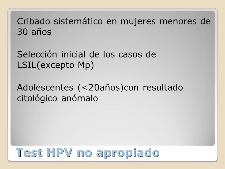 Test HPV no apropiado Cribado sistemático en mujeres menores de 30 años Selección inicial de los casos de LSIL(excepto Mp) Adolescentes (<20años)con r