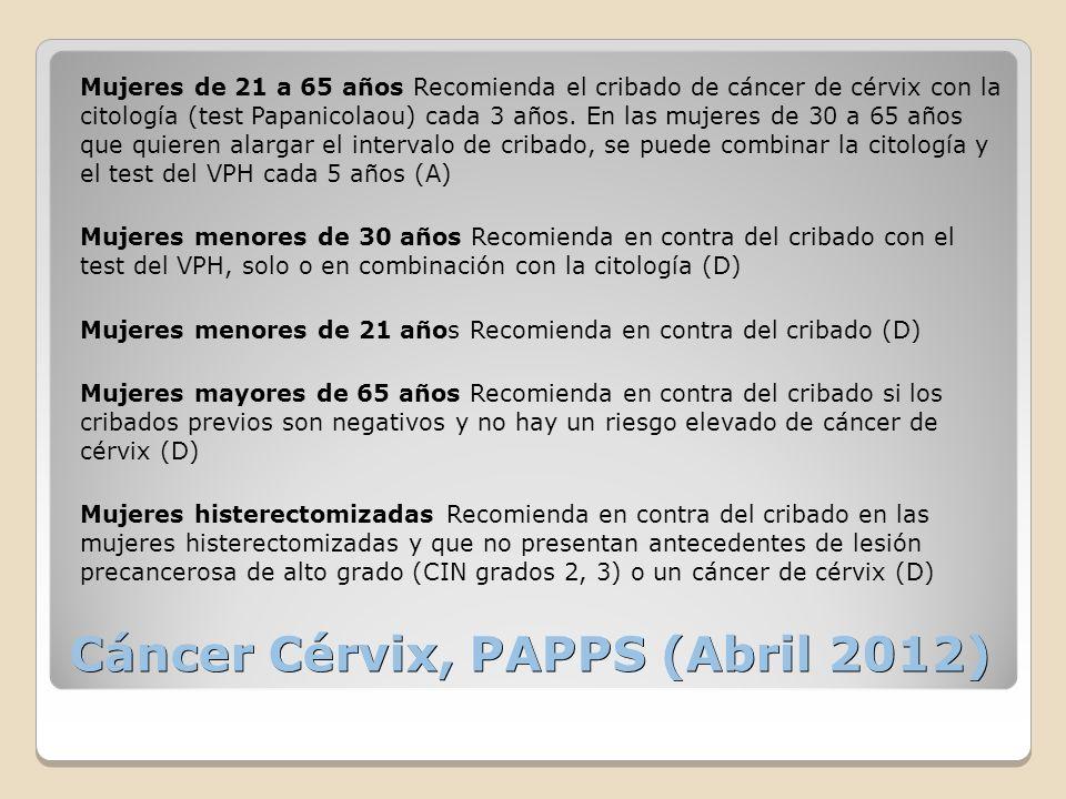 Cáncer Cérvix, PAPPS (Abril 2012) Mujeres de 21 a 65 años Recomienda el cribado de cáncer de cérvix con la citología (test Papanicolaou) cada 3 años.