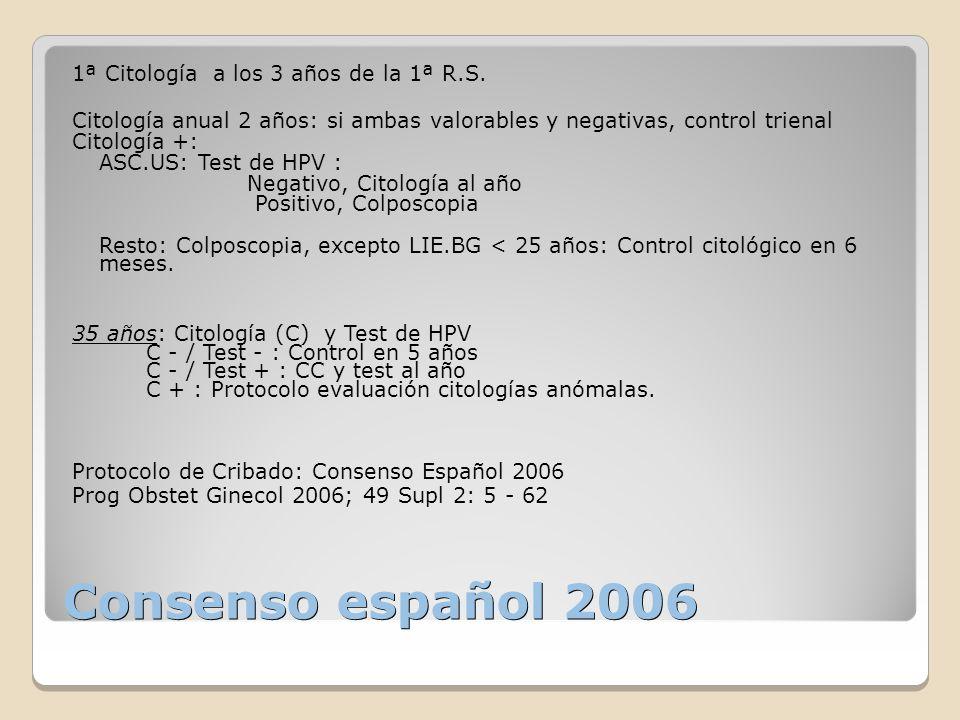 Consenso español 2006 1ª Citología a los 3 años de la 1ª R.S. Citología anual 2 años: si ambas valorables y negativas, control trienal Citología +: AS
