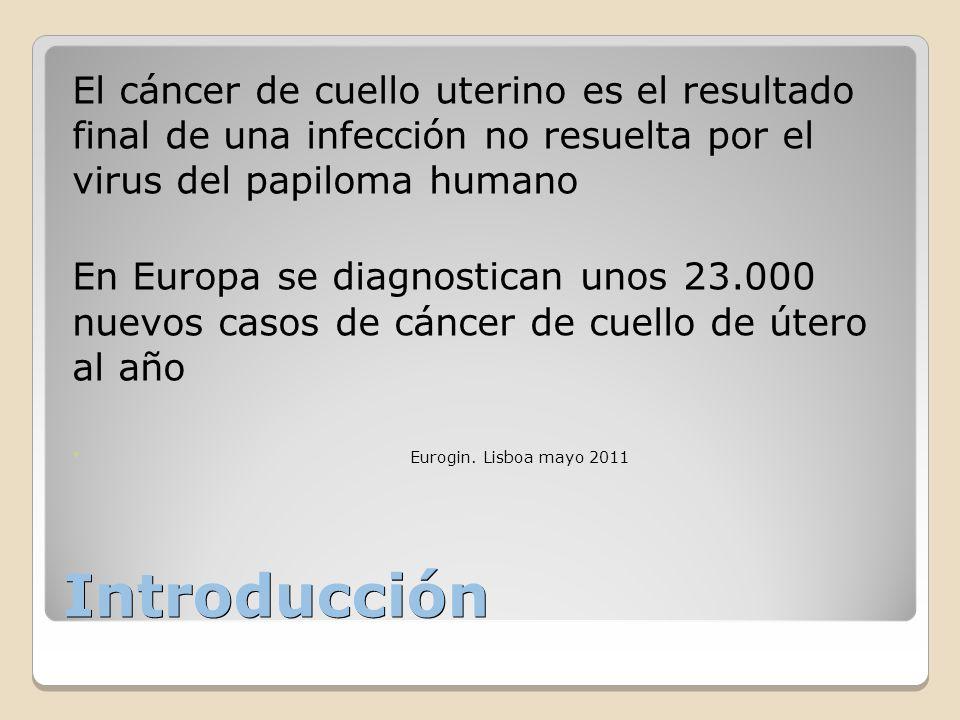 Introducción El cáncer de cuello uterino es el resultado final de una infección no resuelta por el virus del papiloma humano En Europa se diagnostican