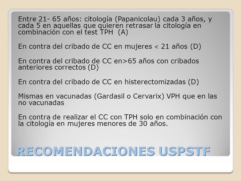 RECOMENDACIONES USPSTF Entre 21- 65 años: citología (Papanicolau) cada 3 años, y cada 5 en aquellas que quieren retrasar la citología en combinación c