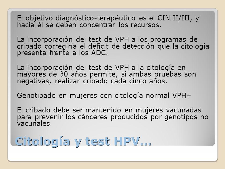 Citología y test HPV… El objetivo diagnóstico-terapéutico es el CIN II/III, y hacia él se deben concentrar los recursos. La incorporación del test de