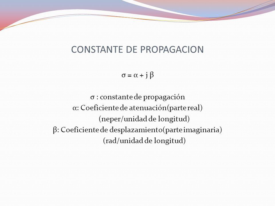 CONSTANTE DE PROPAGACION σ = α + j β σ : constante de propagación α: Coeficiente de atenuación(parte real) (neper/unidad de longitud) β: Coeficiente d