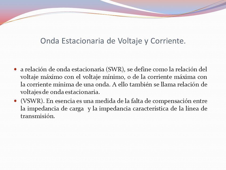 Onda Estacionaria de Voltaje y Corriente. a relación de onda estacionaria (SWR), se define como la relación del voltaje máximo con el voltaje mínimo,