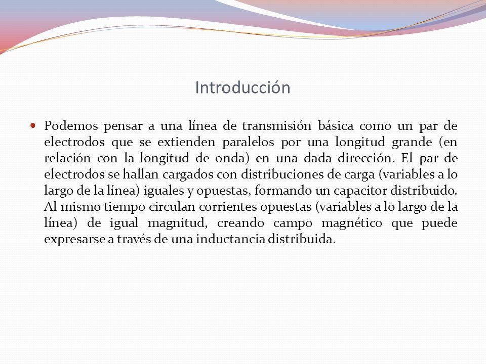 Introducción Podemos pensar a una línea de transmisión básica como un par de electrodos que se extienden paralelos por una longitud grande (en relació