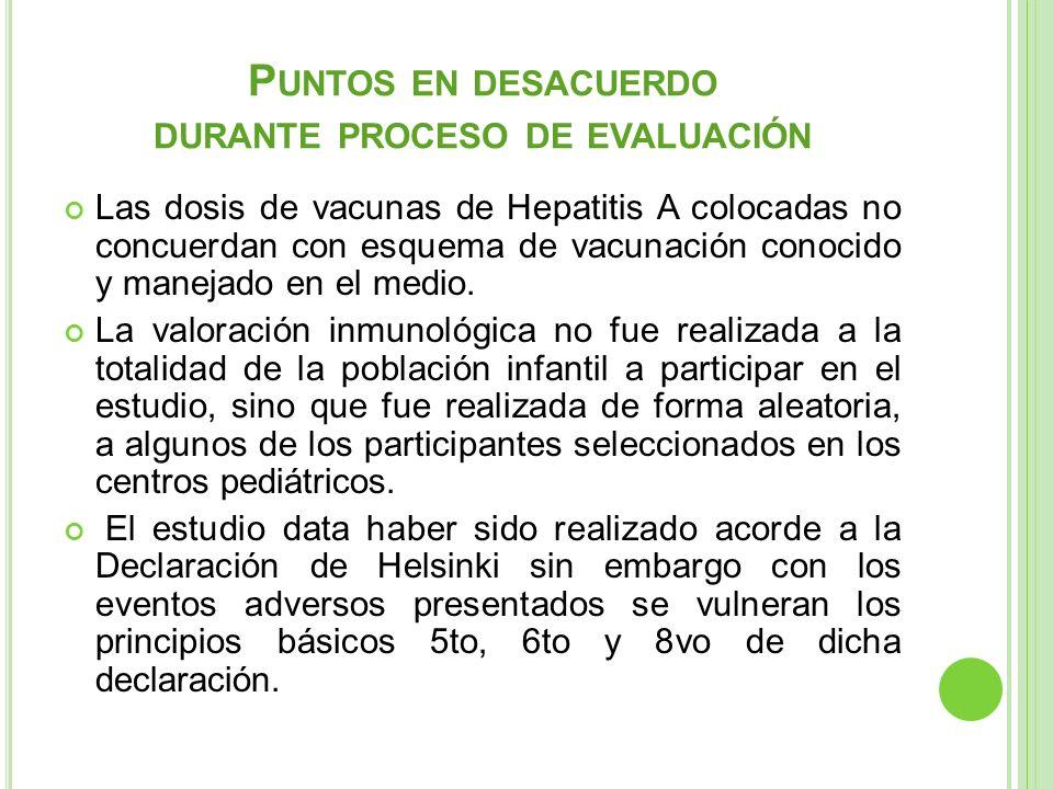 P UNTOS EN DESACUERDO DURANTE PROCESO DE EVALUACIÓN Las dosis de vacunas de Hepatitis A colocadas no concuerdan con esquema de vacunación conocido y m