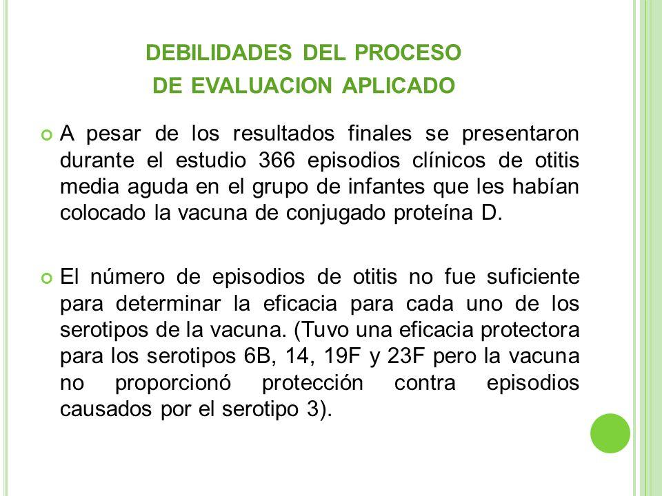 DEBILIDADES DEL PROCESO DE EVALUACION APLICADO A pesar de los resultados finales se presentaron durante el estudio 366 episodios clínicos de otitis me