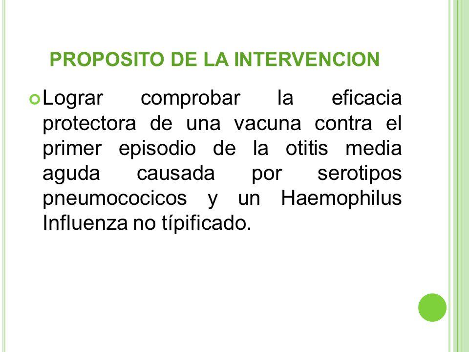 PROPOSITO DE LA INTERVENCION Lograr comprobar la eficacia protectora de una vacuna contra el primer episodio de la otitis media aguda causada por sero
