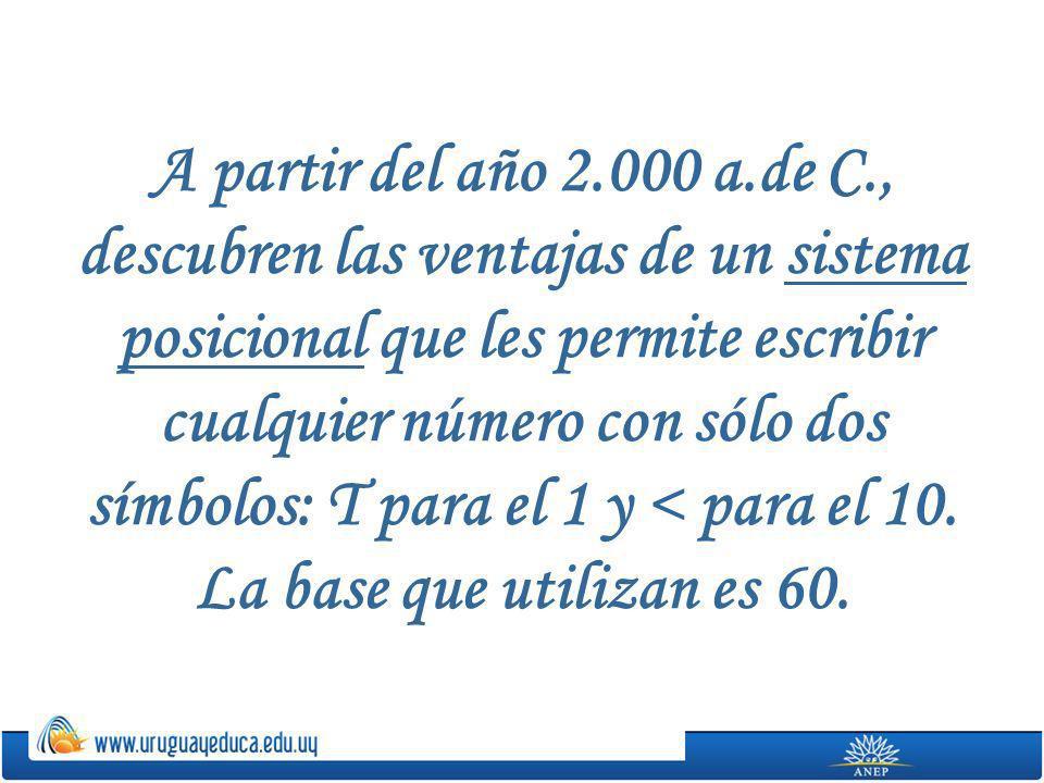 A partir del año 2.000 a.de C., descubren las ventajas de un sistema posicional que les permite escribir cualquier número con sólo dos símbolos: T par