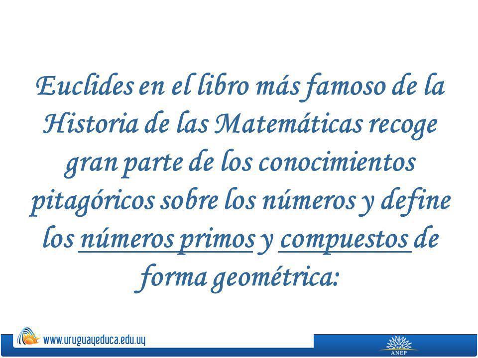 Euclides en el libro más famoso de la Historia de las Matemáticas recoge gran parte de los conocimientos pitagóricos sobre los números y define los nú