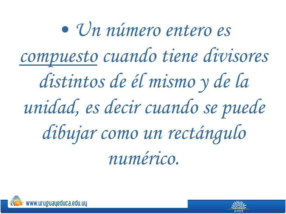 Un número entero es compuesto cuando tiene divisores distintos de él mismo y de la unidad, es decir cuando se puede dibujar como un rectángulo numéric