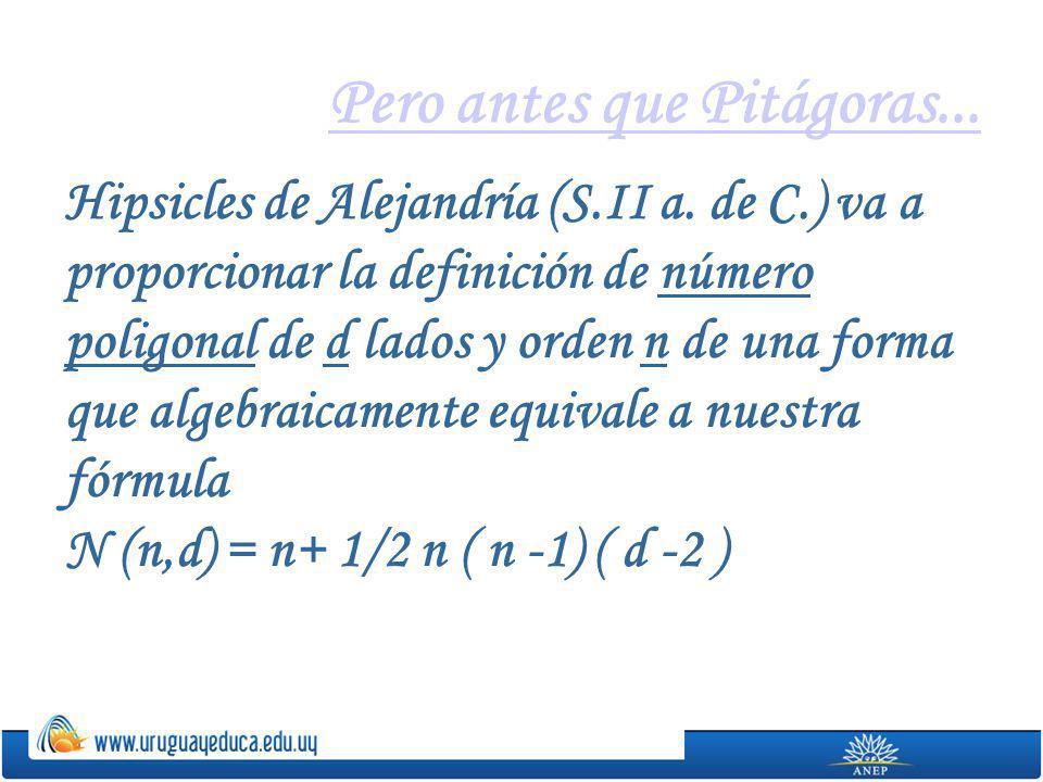 Pero antes que Pitágoras... Hipsicles de Alejandría (S.II a. de C.) va a proporcionar la definición de número poligonal de d lados y orden n de una fo