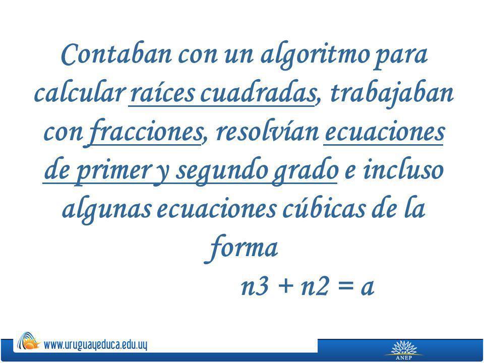 Contaban con un algoritmo para calcular raíces cuadradas, trabajaban con fracciones, resolvían ecuaciones de primer y segundo grado e incluso algunas