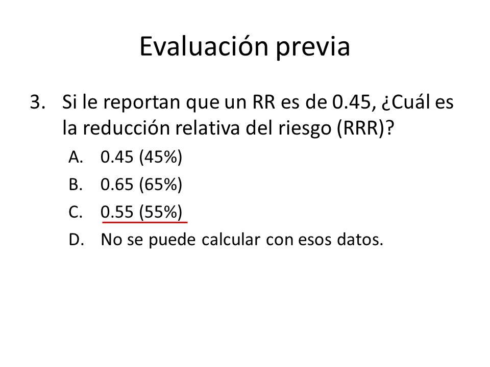 Evaluación previa 3.Si le reportan que un RR es de 0.45, ¿Cuál es la reducción relativa del riesgo (RRR)? A.0.45 (45%) B.0.65 (65%) C.0.55 (55%) D.No