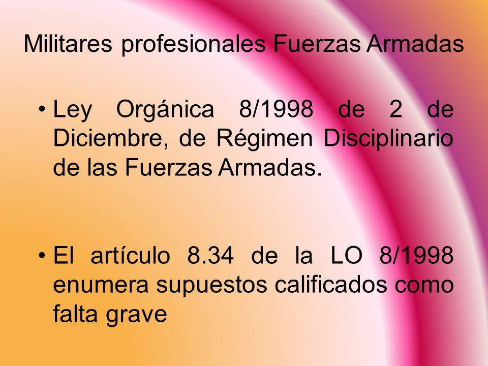 Militares profesionales Fuerzas Armadas Ley Orgánica 8/1998 de 2 de Diciembre, de Régimen Disciplinario de las Fuerzas Armadas. El artículo 8.34 de la