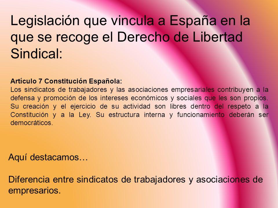 España en el panorama internacional: a) Artículo 23.4 DUDH: Toda persona tiene derecho a fundar sindicatos y a sindicarse para la defensa de sus intereses.