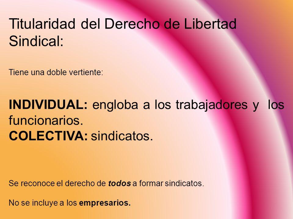 Titularidad del Derecho de Libertad Sindical: Tiene una doble vertiente: INDIVIDUAL: engloba a los trabajadores y los funcionarios. COLECTIVA: sindica
