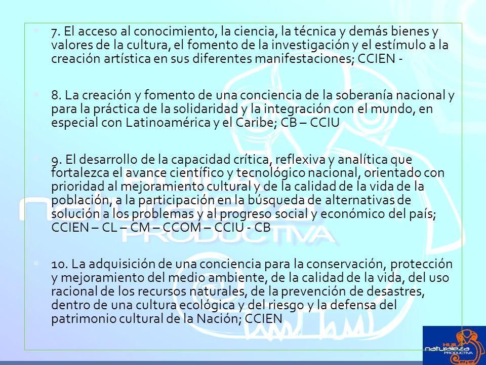 7. El acceso al conocimiento, la ciencia, la técnica y demás bienes y valores de la cultura, el fomento de la investigación y el estímulo a la creació