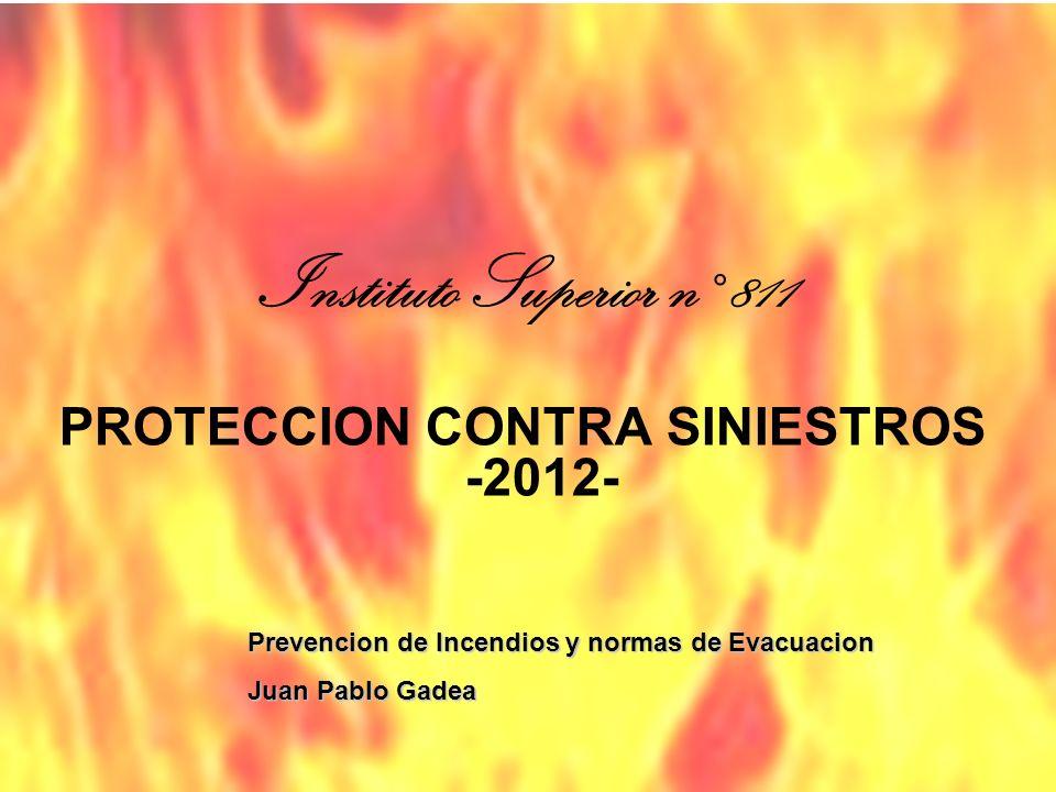PROTECCION CONTRA SINIESTROS -2012- Prevencion de Incendios y normas de Evacuacion Juan Pablo Gadea Instituto Superior n° 811