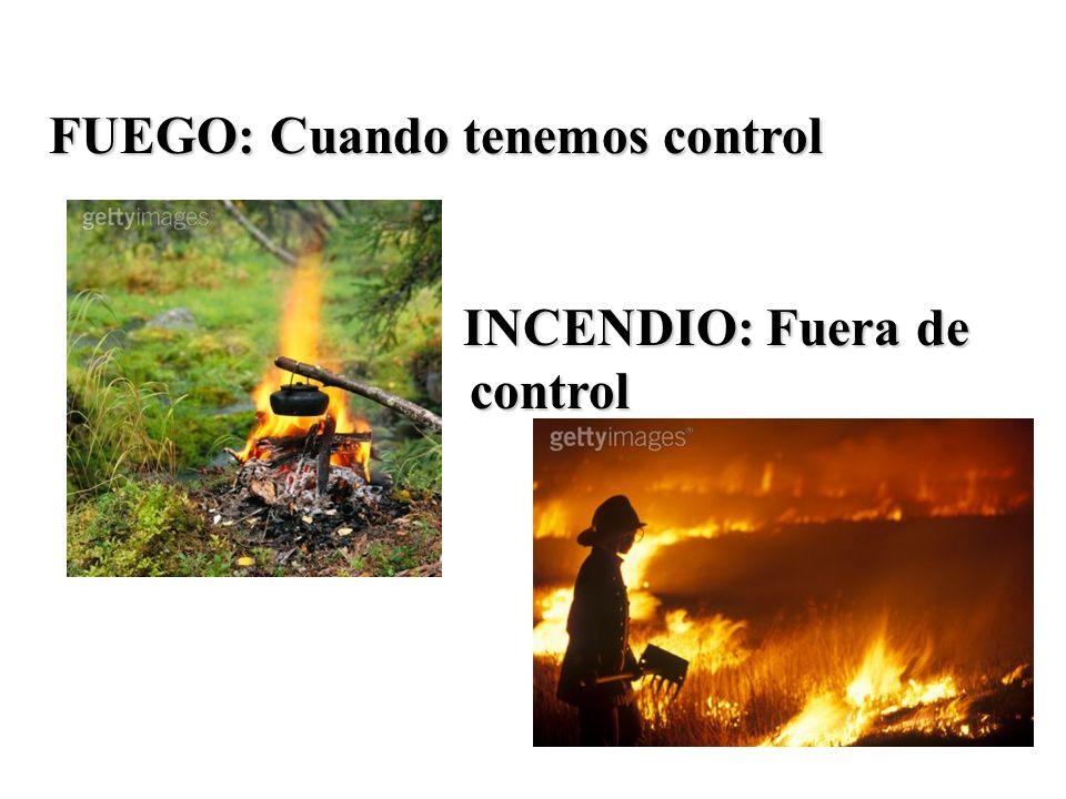 FUEGO: Cuando tenemos control INCENDIO: Fuera de control INCENDIO: Fuera de control