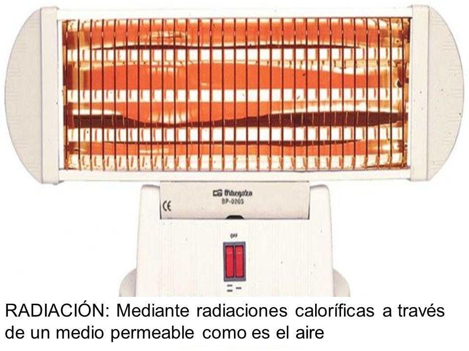 RADIACIÓN: Mediante radiaciones caloríficas a través de un medio permeable como es el aire