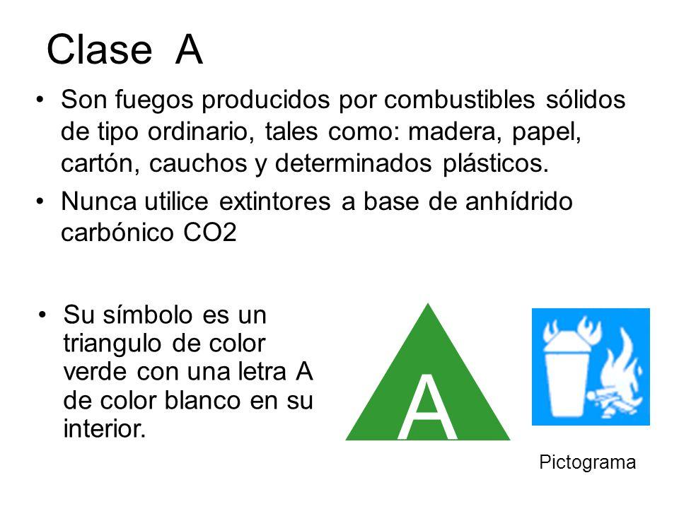 Clase A Son fuegos producidos por combustibles sólidos de tipo ordinario, tales como: madera, papel, cartón, cauchos y determinados plásticos. Nunca u