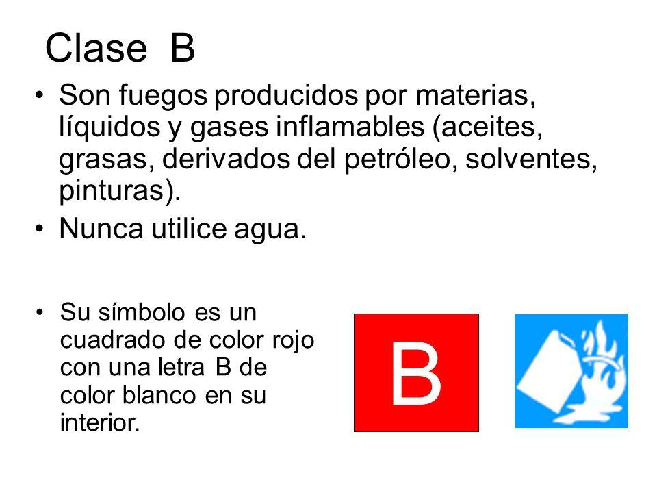 Clase B Son fuegos producidos por materias, líquidos y gases inflamables (aceites, grasas, derivados del petróleo, solventes, pinturas). Nunca utilice