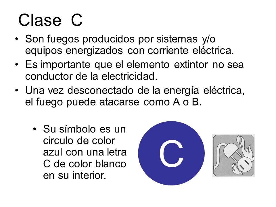 Clase C Son fuegos producidos por sistemas y/o equipos energizados con corriente eléctrica. Es importante que el elemento extintor no sea conductor de