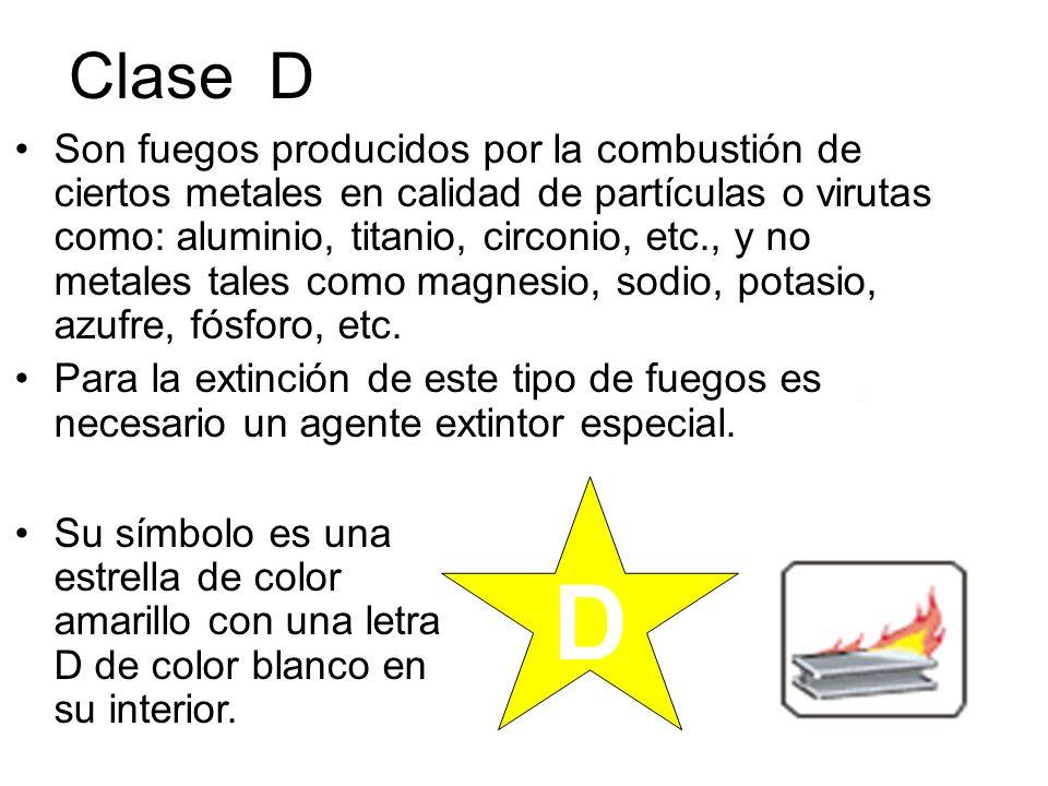 Clase D Son fuegos producidos por la combustión de ciertos metales en calidad de partículas o virutas como: aluminio, titanio, circonio, etc., y no me