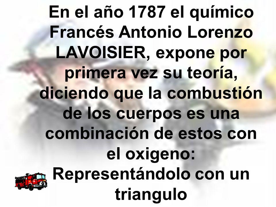 En el año 1787 el químico Francés Antonio Lorenzo LAVOISIER, expone por primera vez su teoría, diciendo que la combustión de los cuerpos es una combin