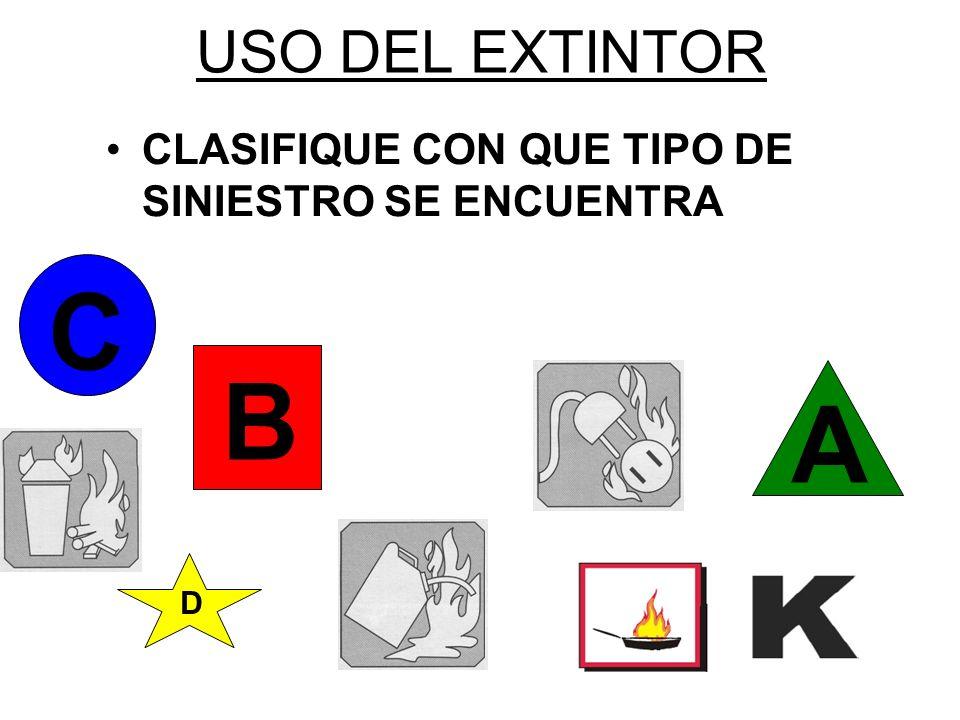USO DEL EXTINTOR CLASIFIQUE CON QUE TIPO DE SINIESTRO SE ENCUENTRA D A B C
