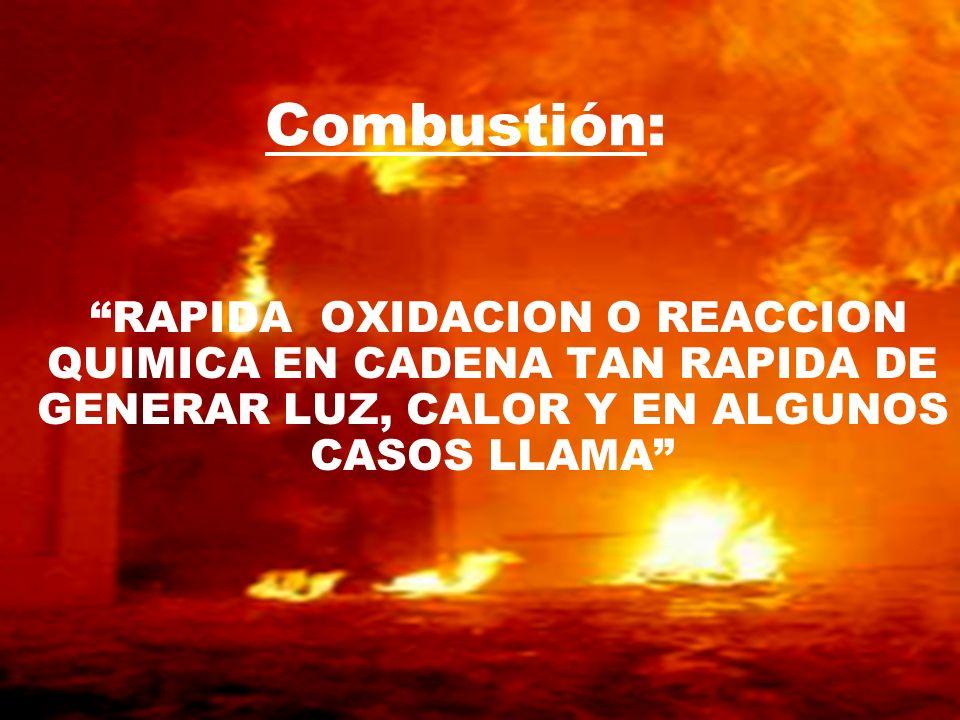 RAPIDA OXIDACION O REACCION QUIMICA EN CADENA TAN RAPIDA DE GENERAR LUZ, CALOR Y EN ALGUNOS CASOS LLAMA Combustión: