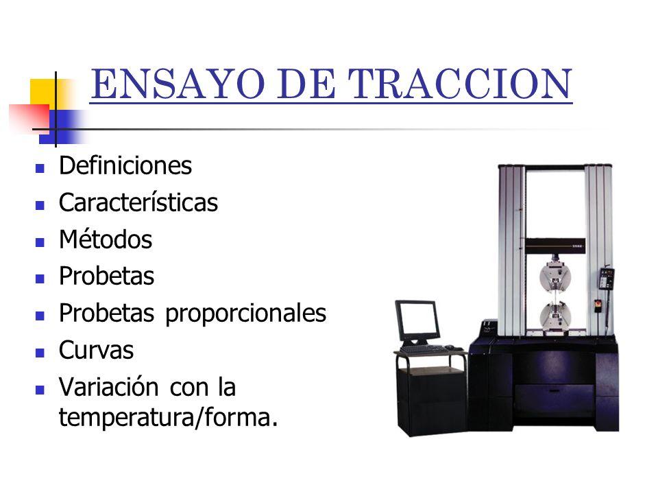 ENSAYO DE TRACCION Definiciones Características Métodos Probetas Probetas proporcionales Curvas Variación con la temperatura/forma.