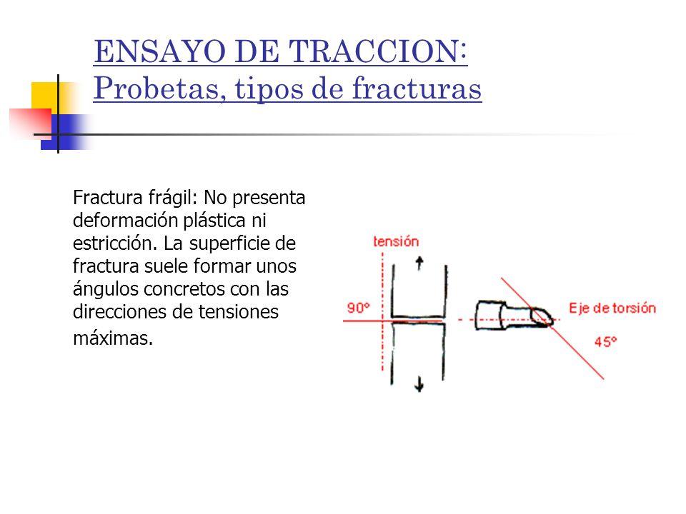 ENSAYO DE TRACCION: Probetas, tipos de fracturas Fractura frágil: No presenta deformación plástica ni estricción. La superficie de fractura suele form