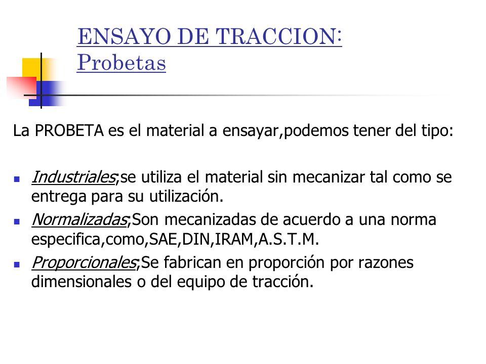 ENSAYO DE TRACCION: Probetas La PROBETA es el material a ensayar,podemos tener del tipo: Industriales;se utiliza el material sin mecanizar tal como se
