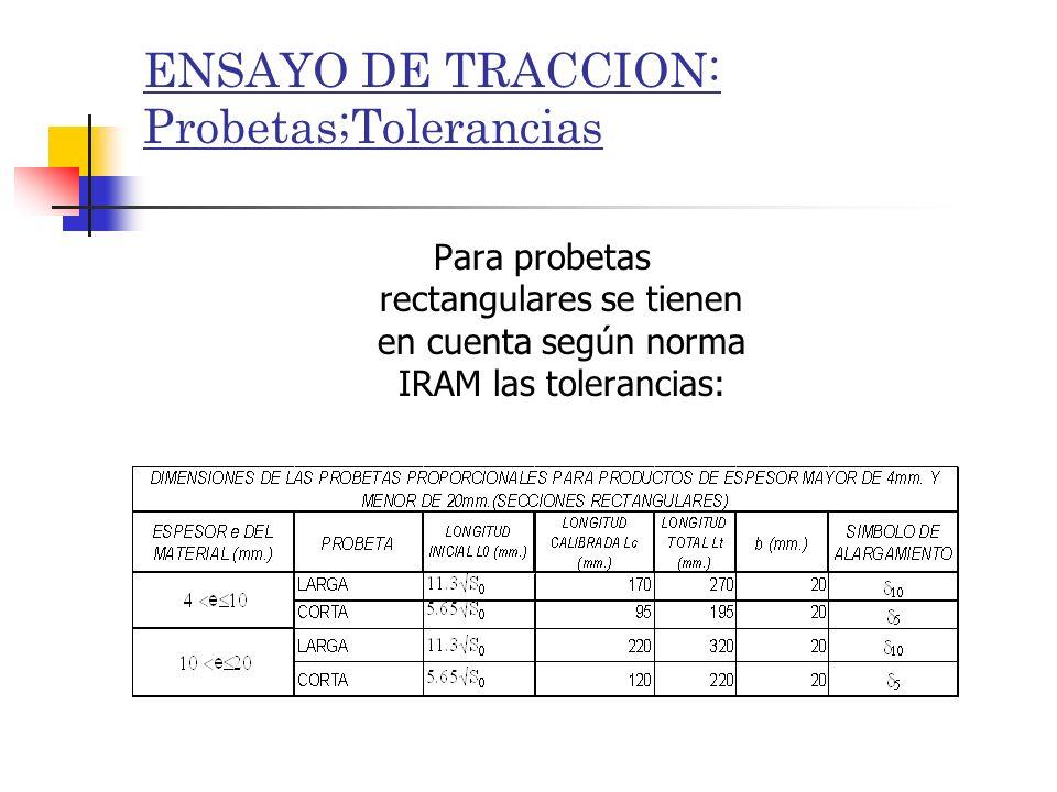 ENSAYO DE TRACCION: Probetas;Tolerancias Para probetas rectangulares se tienen en cuenta según norma IRAM las tolerancias: