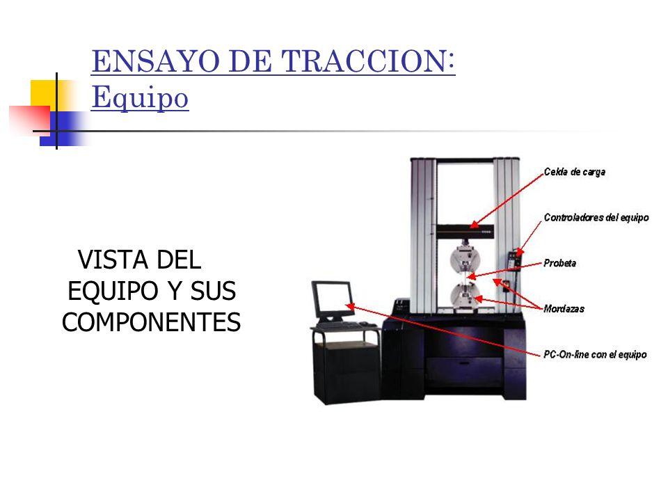 ENSAYO DE TRACCION: Equipo VISTA DEL EQUIPO Y SUS COMPONENTES