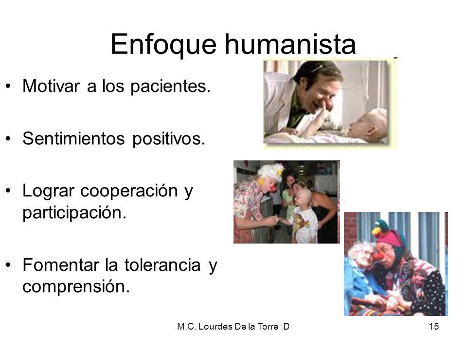 M.C. Lourdes De la Torre :D15 Motivar a los pacientes. Sentimientos positivos. Lograr cooperación y participación. Fomentar la tolerancia y comprensió