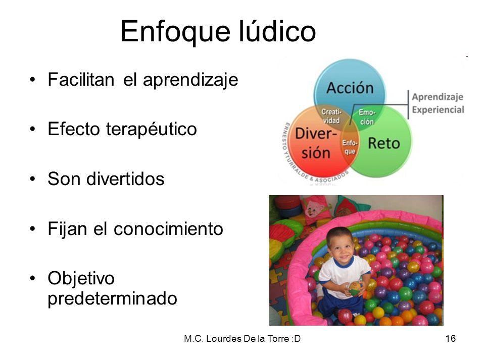 M.C. Lourdes De la Torre :D16 Enfoque lúdico Facilitan el aprendizaje Efecto terapéutico Son divertidos Fijan el conocimiento Objetivo predeterminado