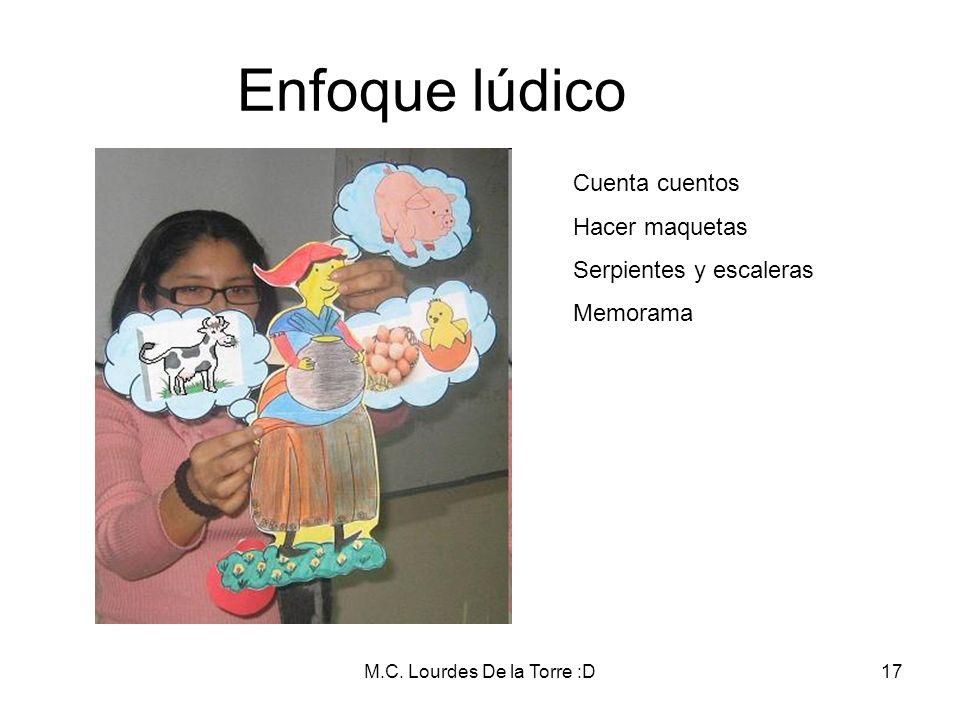 M.C. Lourdes De la Torre :D17 Enfoque lúdico Cuenta cuentos Hacer maquetas Serpientes y escaleras Memorama