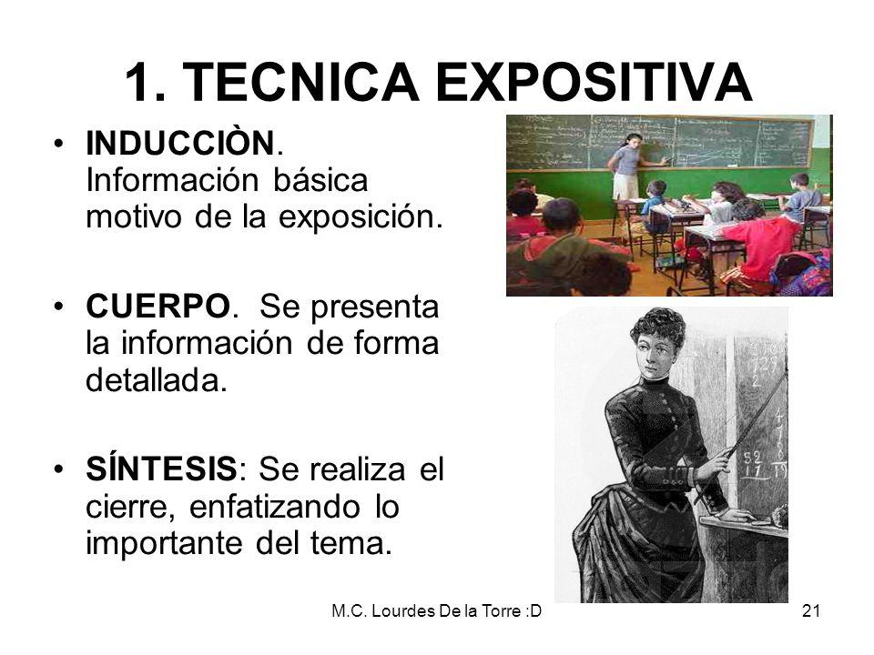 M.C. Lourdes De la Torre :D21 1. TECNICA EXPOSITIVA INDUCCIÒN. Información básica motivo de la exposición. CUERPO. Se presenta la información de forma