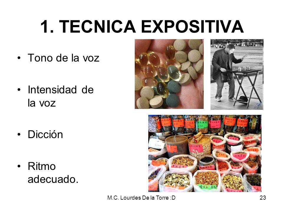 M.C. Lourdes De la Torre :D23 Tono de la voz Intensidad de la voz Dicción Ritmo adecuado. 1. TECNICA EXPOSITIVA