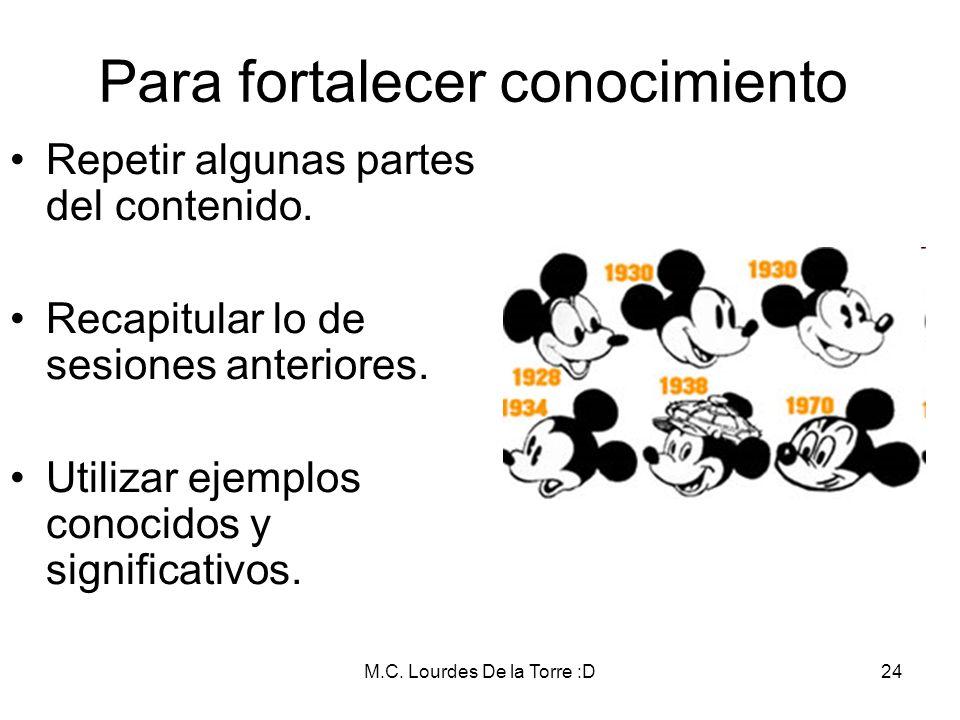 M.C. Lourdes De la Torre :D24 Para fortalecer conocimiento Repetir algunas partes del contenido. Recapitular lo de sesiones anteriores. Utilizar ejemp