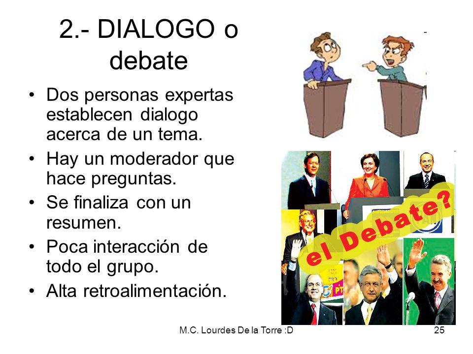 M.C. Lourdes De la Torre :D25 2.- DIALOGO o debate Dos personas expertas establecen dialogo acerca de un tema. Hay un moderador que hace preguntas. Se