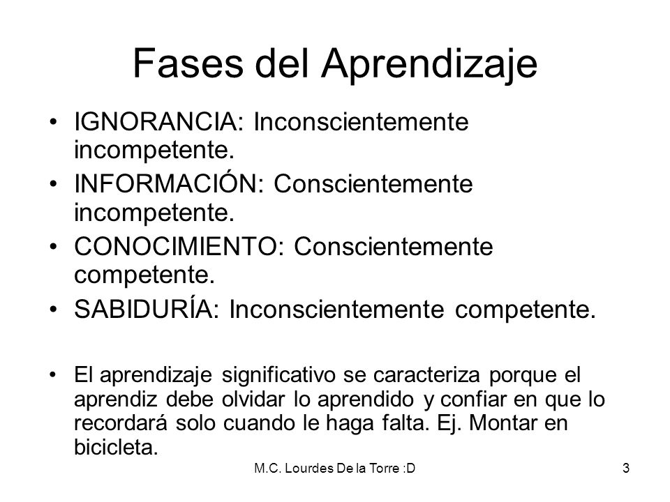 M.C. Lourdes De la Torre :D3 Fases del Aprendizaje IGNORANCIA: Inconscientemente incompetente. INFORMACIÓN: Conscientemente incompetente. CONOCIMIENTO