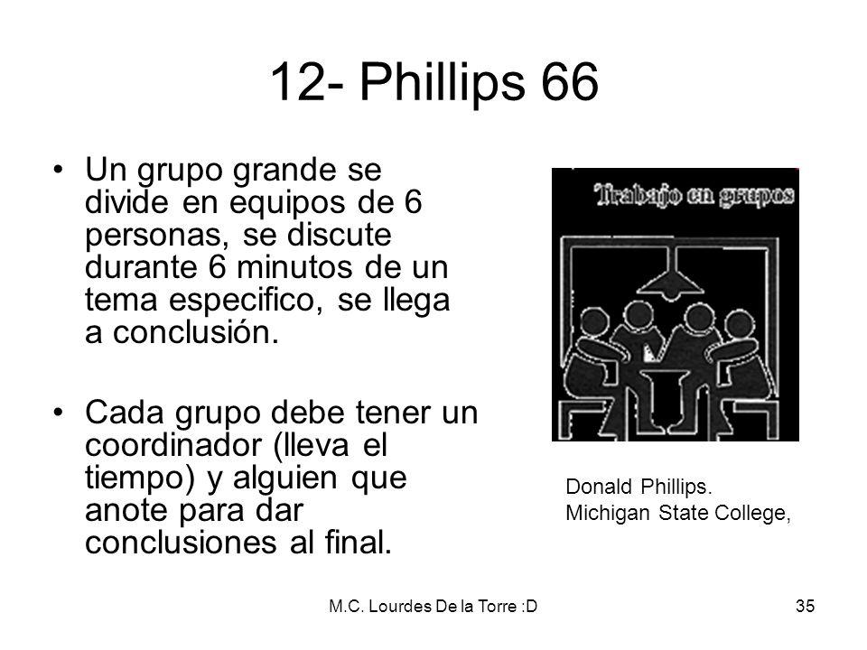 M.C. Lourdes De la Torre :D35 12- Phillips 66 Un grupo grande se divide en equipos de 6 personas, se discute durante 6 minutos de un tema especifico,